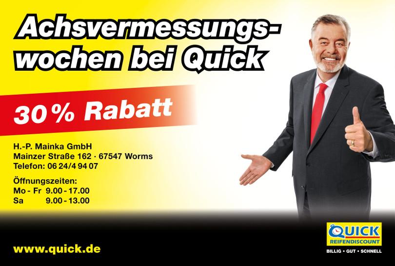 """Harry Wijnvoord – Quick Reifendiscount – """"30% Rabatt"""""""