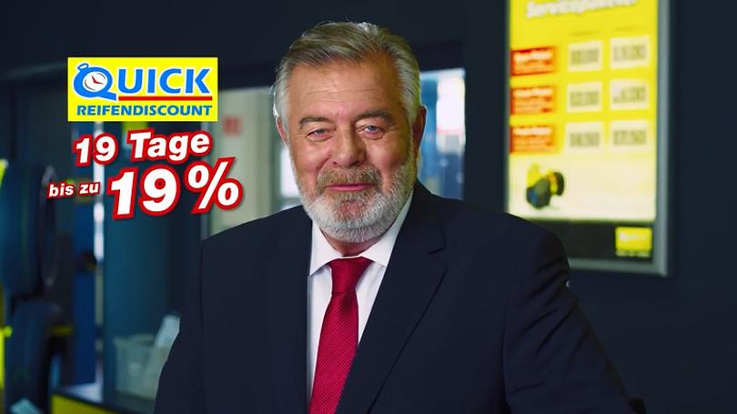 "Harry Wijnvoord – Quick Reifendiscount – ""19 Tage bis zu 19%"""