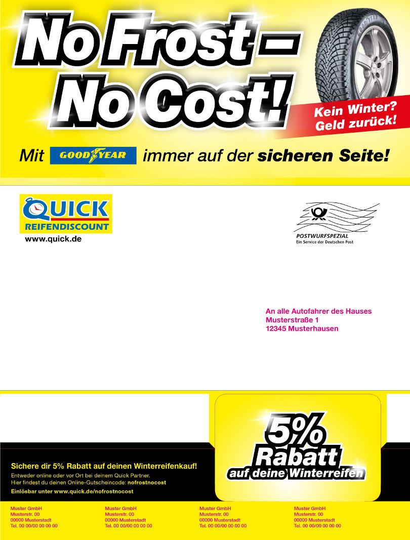 """Harry Wijnvoord – Quick Reifendiscount – """"No Frost – No Cost!"""" – Mailing Multichannel 1"""