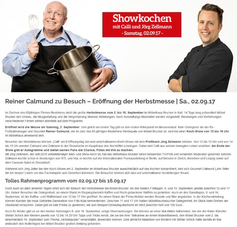 """Reiner Calmund – Möbel Brucker – """"Eröffnung der Herbstmesse"""""""