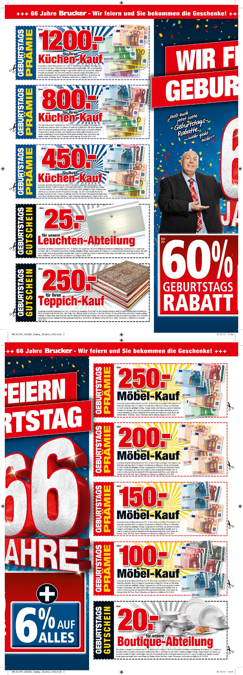 """Reiner Calmund – Möbel Brucker – 3. Mailing """"66 Jahre"""""""
